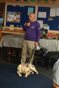 A visit by one of the assistance dogs to the Quiz